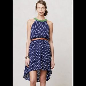 Anthropologie Lilka polka dot high/low dress